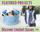 crochet basket and skinny scarf